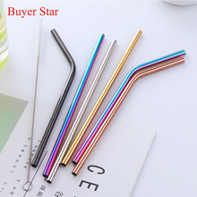 все цены на 5Pcs Reusable Metal drinking Straws 304 Stainless steel Straw with Cleaner Brush Straws Silicone tips Home Bar tools Accessories онлайн
