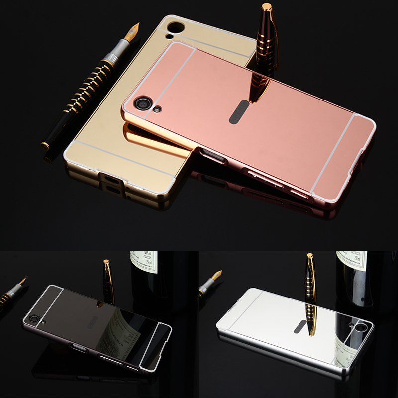 For Sony XA F3111 F3112 Case Plating Metal Frame with Mirror Back Cover Hard Case for Sony Xperia XA 1 XA1 G3112 G3116 G3121