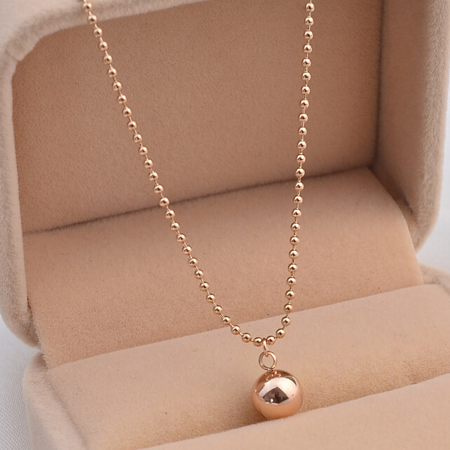 14K Rose Gold Titanium Gold Fashion Ball Women Men Necklace Pendant