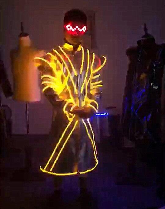 Ohlees Adulte Hommes LED Clignotant Paillettes Light Up Jazz Cap Fête De Noël De Danse Performance veste manteau lunettes avec épée