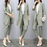 Spring Womens Summer Half Sleeve Long Jacket Trouser Suit Set 2 Pieces Pant Suits for Women Cotton Linen Pantsuit Greem Grey