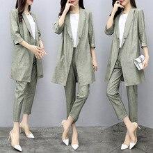 Spring Womens Summer Half Sleeve Long Jacket Trouser Suit Set