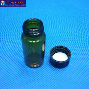 Image 2 - 5 ml 50 pz/lotto marrone flaconcino di vetro con tappo a vite Chiaro Liquido Campionamento Bottiglie Fiale di Vetro Del Campione di trasporto libero
