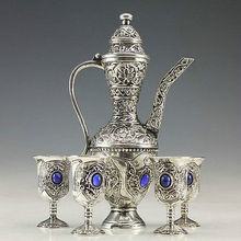 Old Handwork Miao Silver Carved Flower Showily Wine Pot & Noble 4 Wine Cup silver art Decoration 100% real Tibetan Silver Brass
