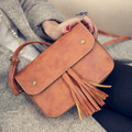 2017 Hot Sale vintage Tassel Women bag PU Leather Cross Body Shoulder Bags Fashion Messenger Bag 5 Colors Available HBC38