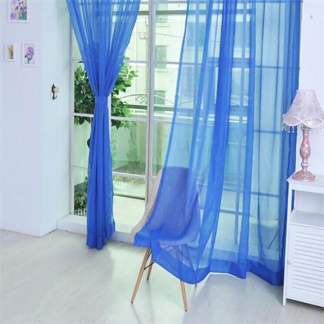 1 PZ colore Puro Tulle tenda della Porta Finestra Drappo 200*100 CM Pannello Pur