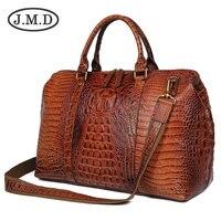 J.M.D Высокое качество кожа с аллигаторовой текстурой для женщин сумки Dufflel чемодан сумка Fashoin для мужчин's сумка через плечо для путешествий