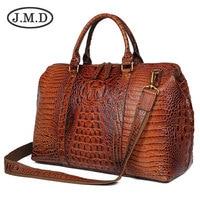 J.M.D Высококачественная кожаная сумка с аллигаторовой текстурой для женщин сумки Dufflel багажная сумка модная мужская сумка через плечо для пу