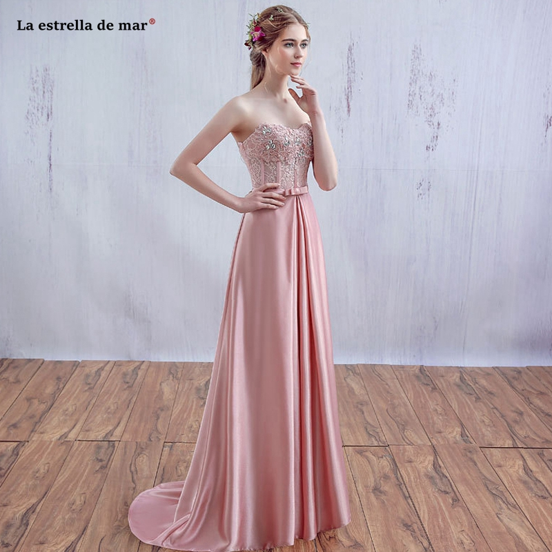 Robe Demoiselle D'honneur Pour Femme New Lace Satin Crystal Shoulderless Bra Aline Pink Bridesmaid Dress Long Vestido Madrinha