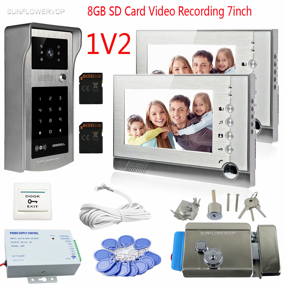 Rfid Video Doorbell For 2 Apartment 8GB SD Card Recording 7 Color Monitors Interphone Video Wired Home Video Intercom With Lock rfid reader doorbell camera for 10 apartment door bell 4 3 color monitors home intercom with electronic lock video doorman home