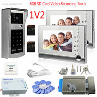 Rfid Video Doorbell For 2 Apartment 8GB SD Card Recording 7 Color Monitors Interphone Video Wired