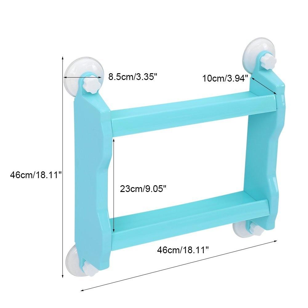 Storage Shelf 2 Layers Suction Corner Bathroom Kitchen Bedroom ...