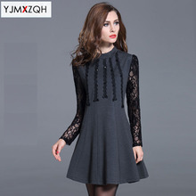 2016 Autumn Women Elegant Pinup Vintage Retro Lace Off Shoulder Patchwork Belted Stretch Party Fitted Dress plus size sexy dress
