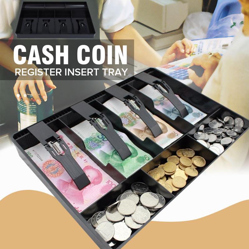 Cashier Storage Box Cash Drawer Register 4Grids ABS 4 Bills 3 Coins Store Cash Drawer Replacement Coin Garage Sales Stylish