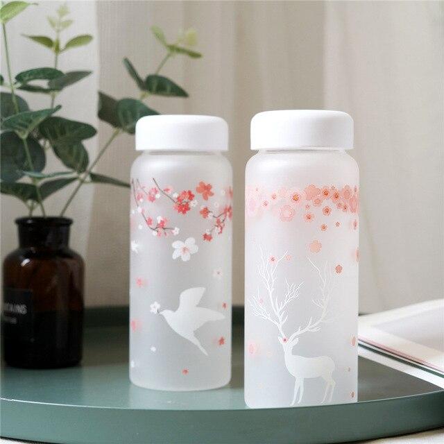 Sakura and Animals Glass Water Bottle 2