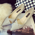 Woman Patent Leather Cut-outs Pointed Toe Low Heel Shoes Sexy Ladies Shallow mouth Pumps OL Office Heels