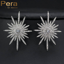 Korean Fashion Style 925 Sterling Silver High Quality CZ Created Diamond Setting Big Flower Stud Earrings Jewelry For Women E151