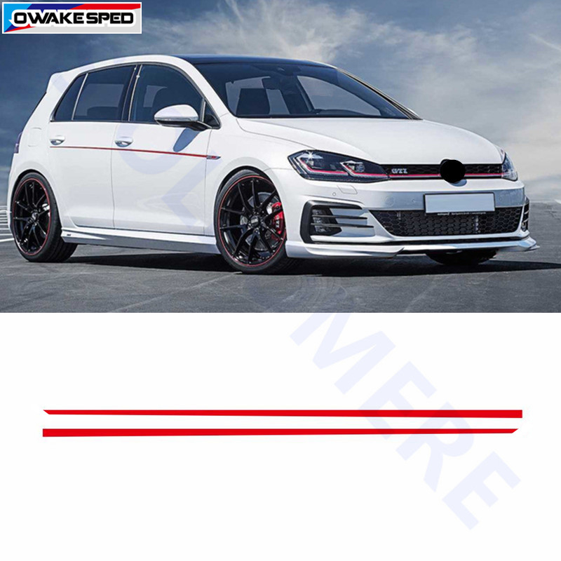 Racing Waist Lines Strips Car Body Door Decor Sticker Sport Styling Vinyl Decal Fit On 3-5 Doors For Volkswagen GOLF 7 8