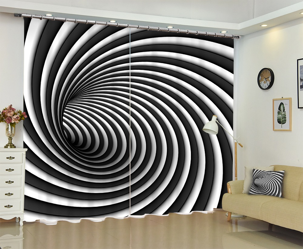 Black and White Spiral Texture 3D Curtains Sunshade Window Curtains Custom made Size