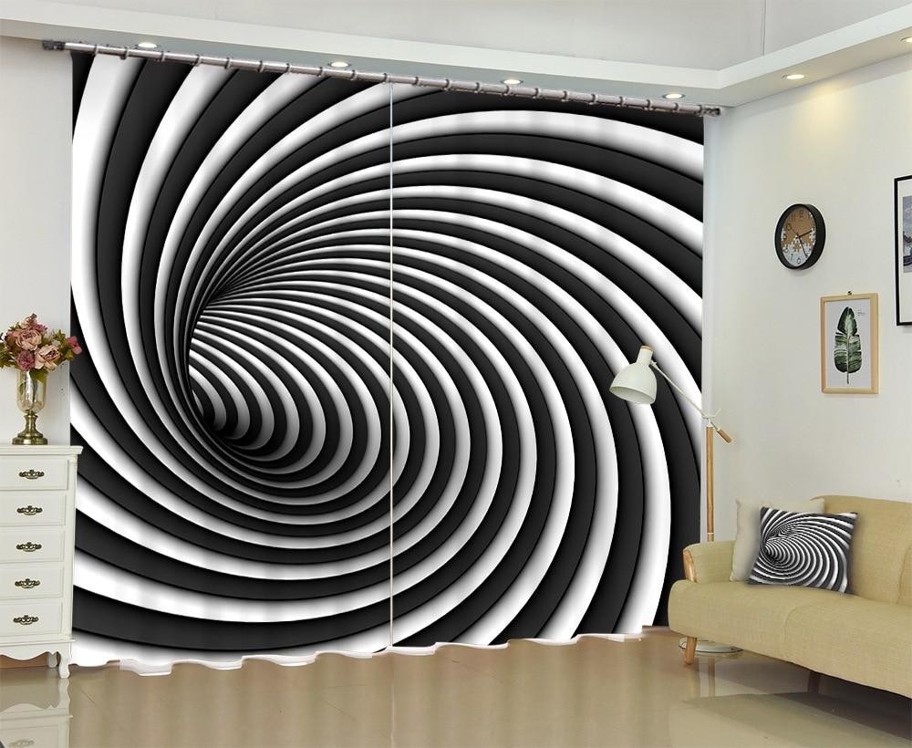 In Bianco e nero A Spirale Struttura 3D Tende Della Finestra Tende Parasole Formato Su Ordine-in Tende da Casa e giardino su  Gruppo 1