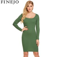 FINEJO Women Long Sleeve Cut Out Back Textured Casual Party Bodycon Dress
