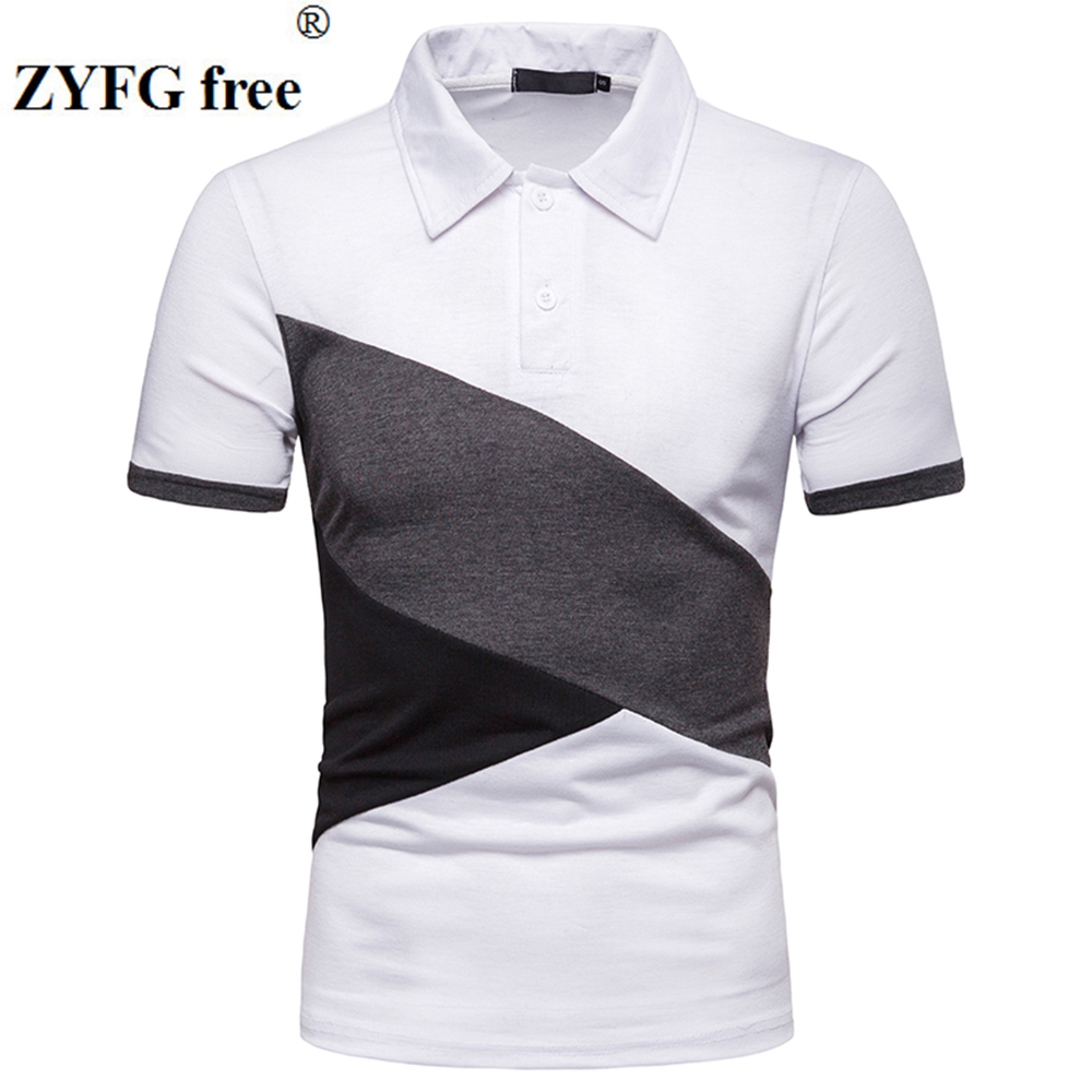 ZYFG free men   polo   splice short-sleeved   polo   shirt breathable home male fashion tide take spring and summer tops