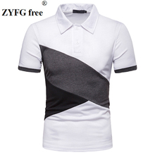 ZYFG free men polo splice short-sleeved shirt breathable home male fashion tide take spring and summer tops