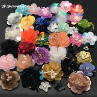 0dd31a99a8 10Pcs Per Lot 3-4CM Width Handmade Sequin Flower Applique 3D Paillettes  Beaded Patches For DIY Clothes Shoes Hat Accessories