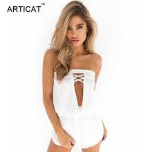 Articat выдалбливают боди Женщины комбинезон сексуальный с плеча спинки Летний комбинезон Barboteuses Meninas повседневное шифоновое Пляж Габаритные
