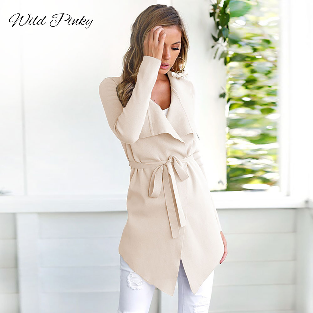 WildPinky Spring Autumn Ladies Long   Trench   Women Turn Down Collar Long Sleeve Coat Open Stitch Overcoat Female Outwear