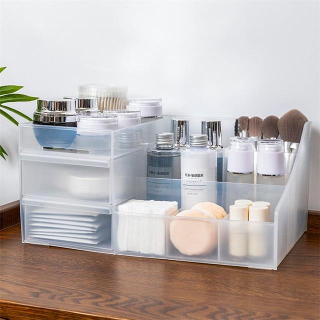 Plastikowy organizator do makijażu dwuwarstwowy pojemnik na biżuterię Organizer na kosmetyki pudełko do makijażu szminka Organizer na kosmetyki stół do łazienki Organizer
