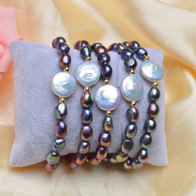 ASHIQI genuino botón de 12-13mm pulseras de perlas de agua dulce - Joyas - foto 3