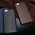 KISSCASE Luxury Real Carbon Fiber Case For Iphone 7 6 6s Plus Shockproof Cover For Iphon7 6 Soft Leather Skin Mobile Phone Case