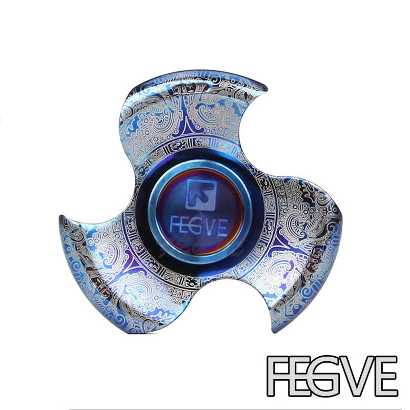 FEGVE Top Quality Titanium Alloy Grilled Blue Fidget Spinner Hand Spinner Name Engraved Metal EDC Stress Handspinner Toys