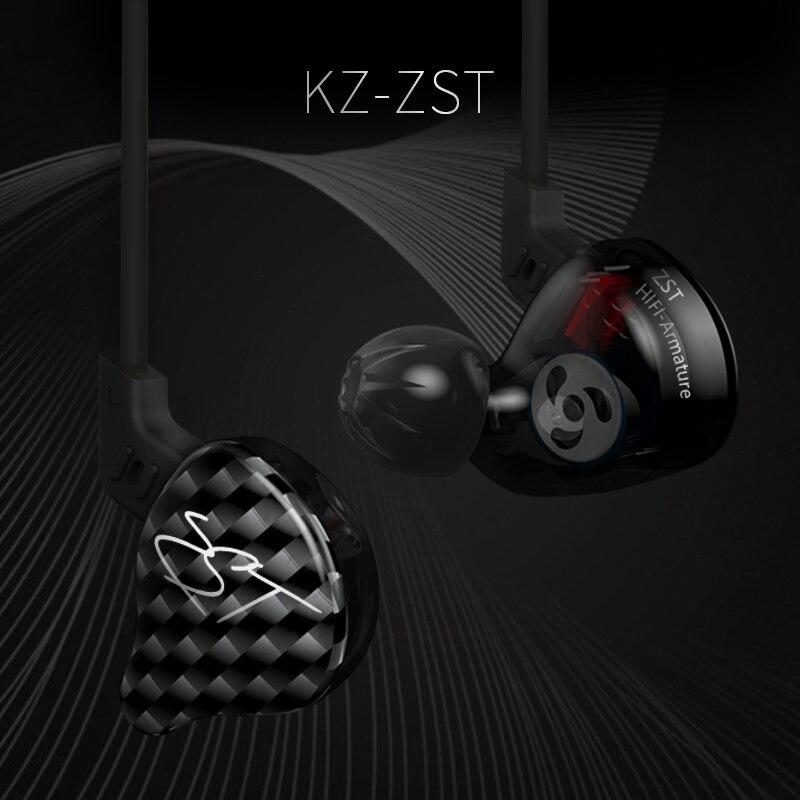 Original KZ ZST armature dual drive headset detachable cable in ear audio monitor noise isolation HiFi music sports earplugs