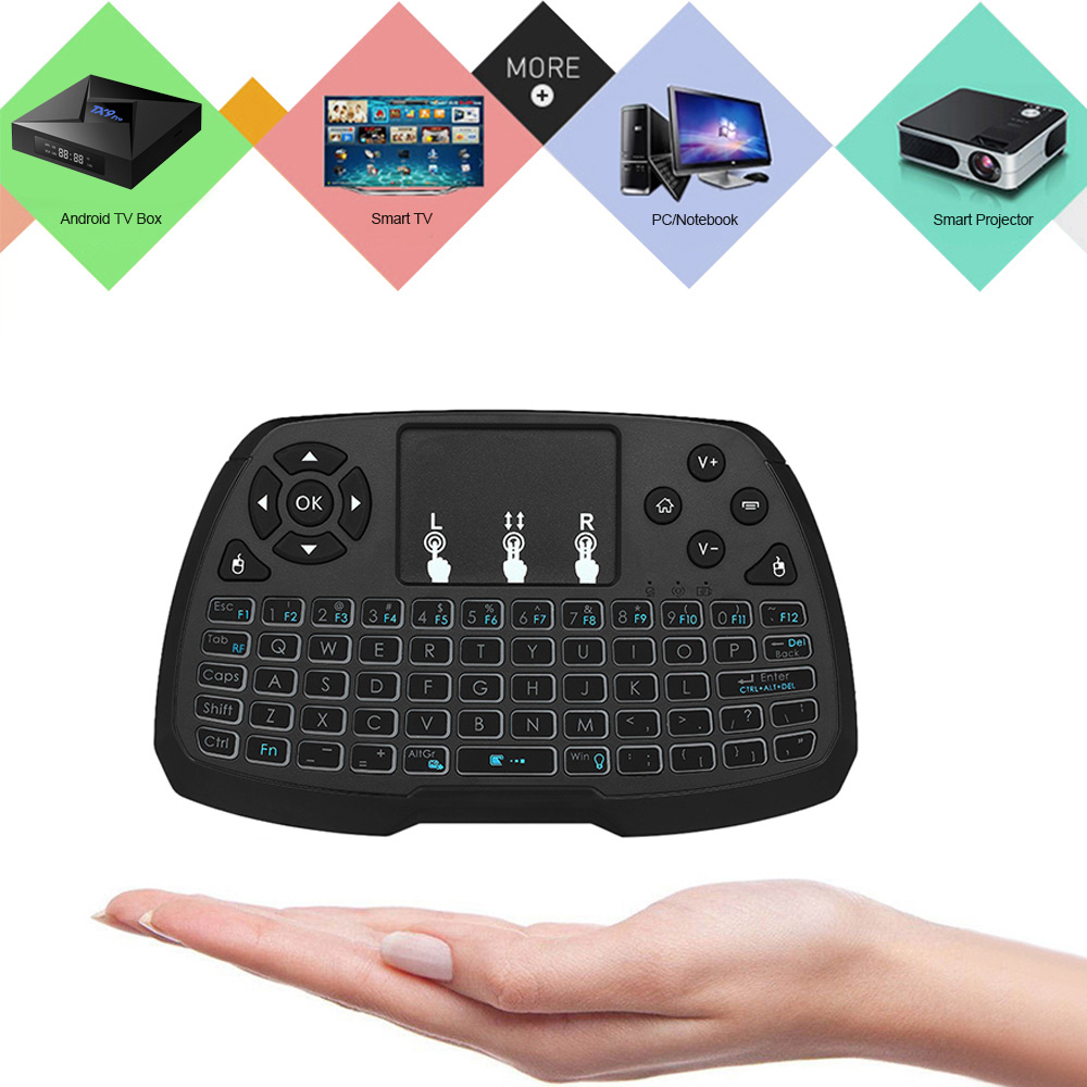 Mini Backlit Keyboard Usb 24 Ghz Wireless Air Mouse Touchpad Handheld Remote Control For Android Tv Box Smart Pc