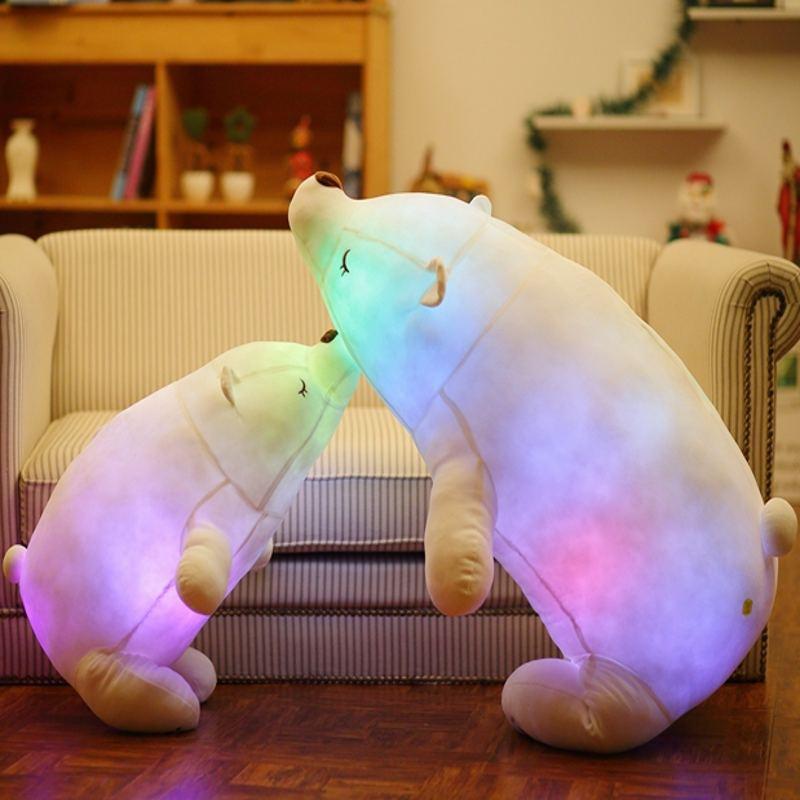 110 cm coloré Flash LED en peluche gros ours polaire émettant de la lumière enfants poupée doux Animal en peluche oreiller cadeau mignon pour les enfants - 5