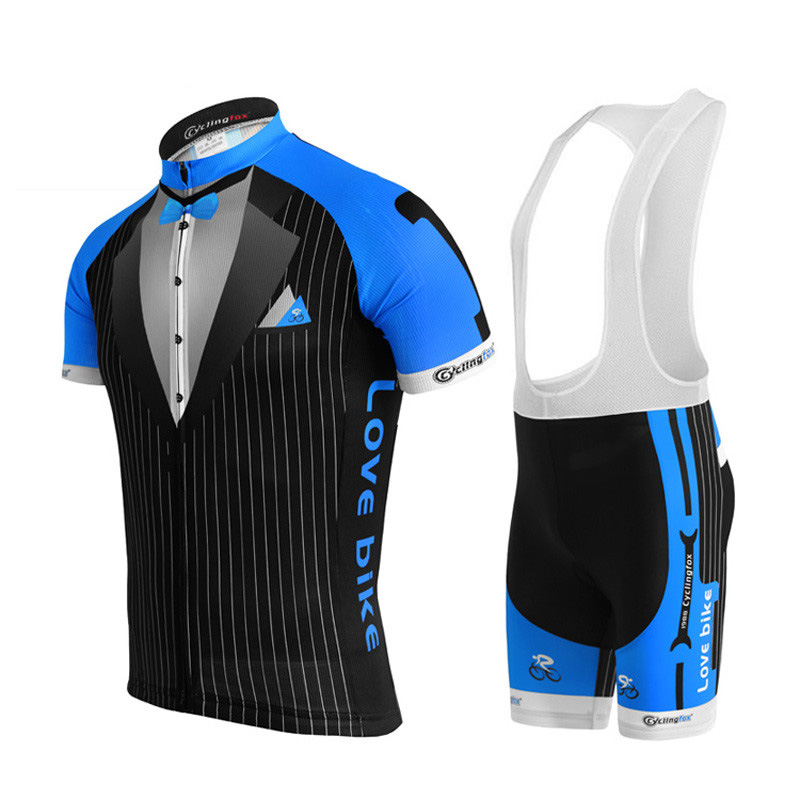 Gentleman jersey set men cycling clothing 3d gel breathable pad proteam bicycle clothing summer jersey short sleeve love bike