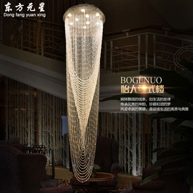 Stair Chandelier Crystal Light Staircase Lamp Hanging Crystal Lighitng For  Double Entry Stairway