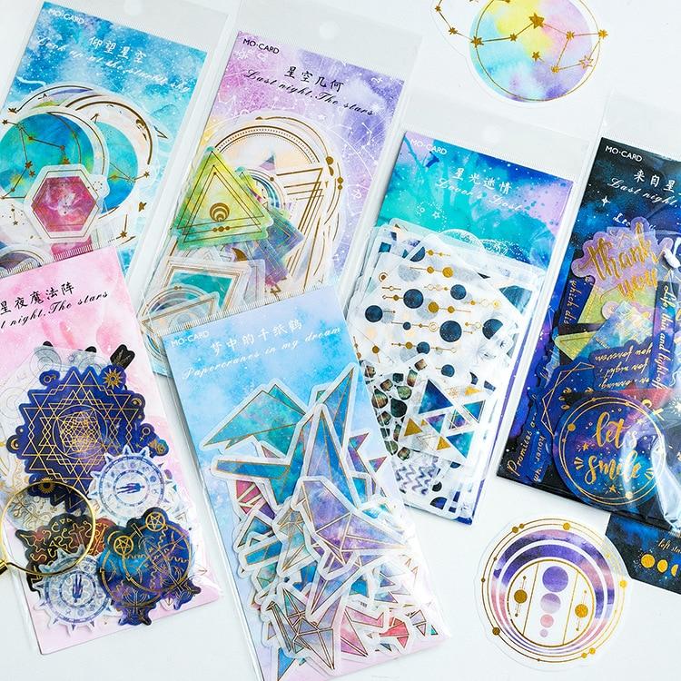 Night Stars Gilding Decorative Washi Stickers Scrapbooking Stick Label Diary Stationery Album Stickers