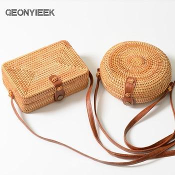 GEONYIEEK 2018 New Fashion Round Straw Bag Handbags Women Summer Rattan Bag Handmade Woven Beach Handbag For Women Bag