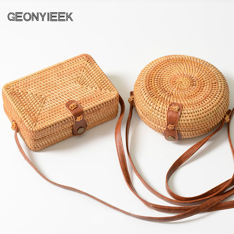 GEONYIEEK 2019 New Fashion Round Straw Bag Handbags Women Summer Rattan Bag Handmade Woven Beach Handbag For Women BagGEONYIEEK 2019 New Fashion Round Straw Bag Handbags Women Summer Rattan Bag Handmade Woven Beach Handbag For Women Bag