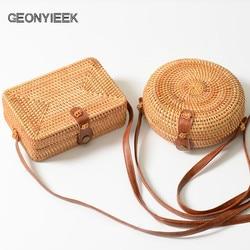 GEONYIEEK 2019 New Fashion Round Straw Bag Handbags Women Summer Rattan Bag Handmade Woven Beach Handbag For Women Bag