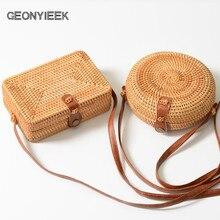 GEONYIEEK 2019 New Fashion Round Straw Bag Handbags Women Su