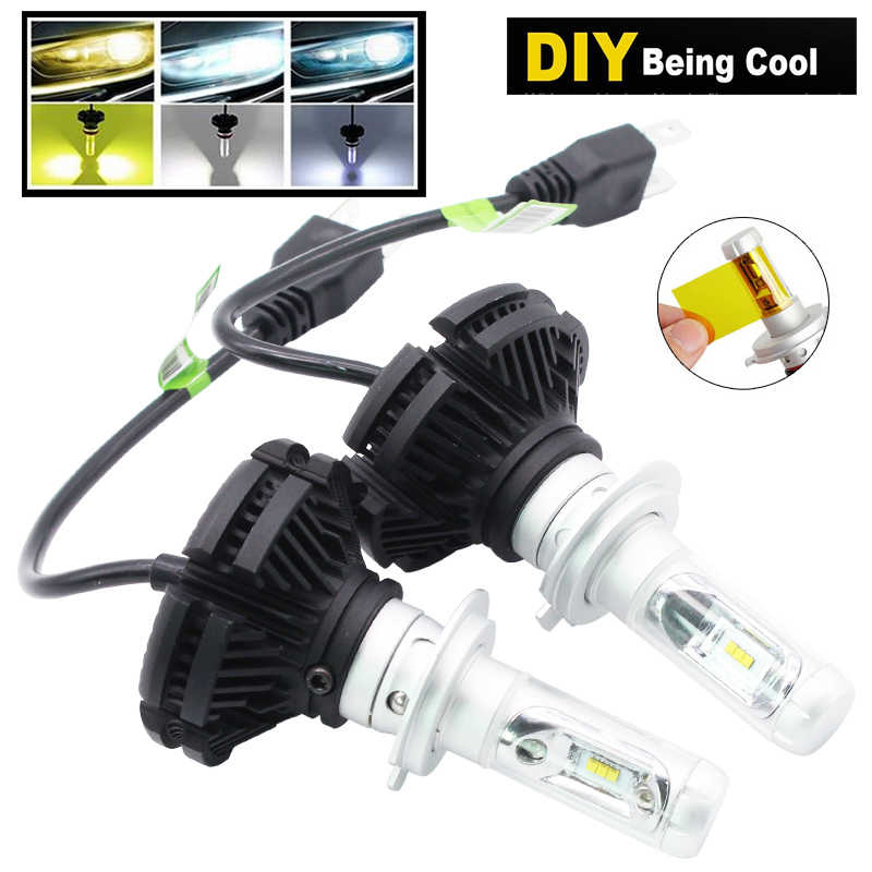 2pcs H7 LED Car Headlight Bulbs H4 H1 H3 H11 9005 9006 LED 25W X3 ZES Chips DIY Yellow White Ice Blue Lamp Auto Car Fog Lamps