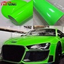 Красивая зеленая флуоресцентная виниловая наклейка, флуоресцентная зеленая автомобильная пленка для обертывания автомобиля