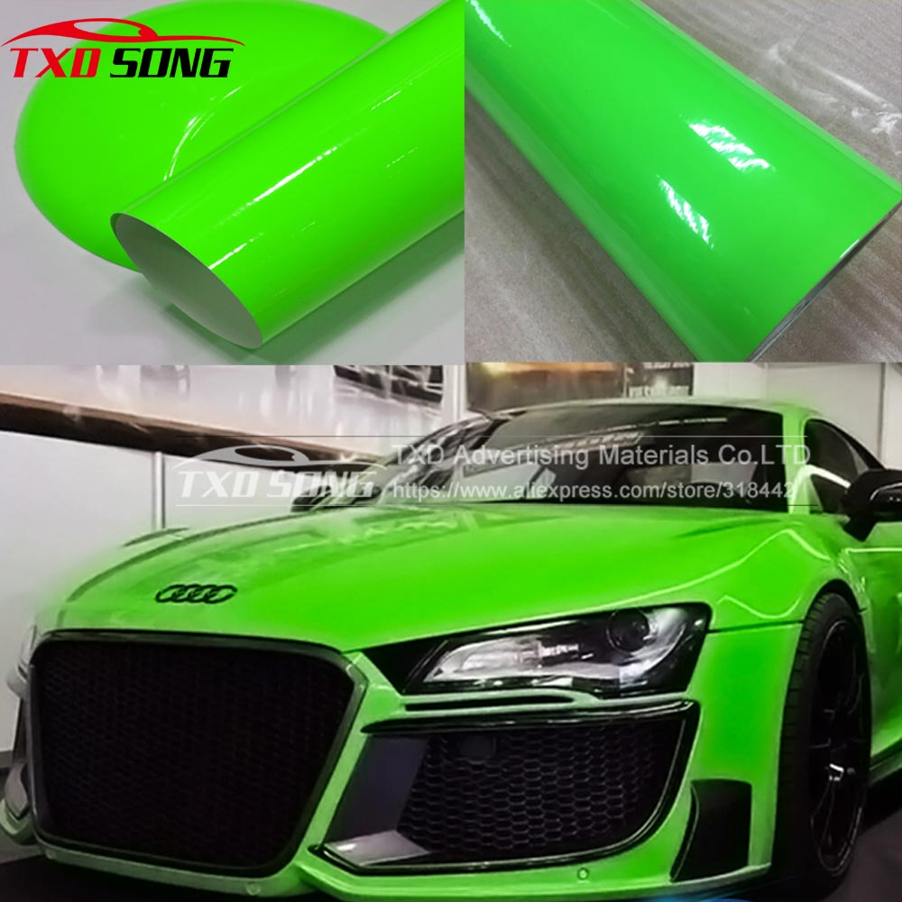 Beautiful Green Fluorescent Vinyl Sticker Fluorescent Green Car Wrap Film For Car Wrapping With Air Bubbles By Free Shipping