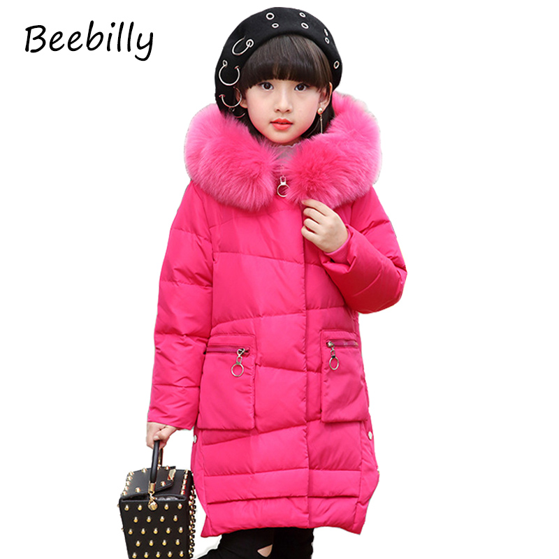 2017 Girls Down Jackets Coats Fashion Hooded Warm Winter Jacket Kids 80% Duck Down Jacket Children Outerwears for -30degree christmas long hooded jacket girl 90% white duck down coats kids tops teenage girls winter jackets and coats children outerwears