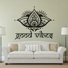Lotus Flower Design Wall Decals Yogo Studio Decor Good Vibes Vinyl Sticker Boho For Home Flowers Mural  AZ110