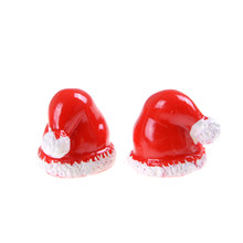 2Pcs Cute Christmas hats Squirrel Animals Action Figures Toy DIY Accessories Props Micro Home Garden Decoration(China)